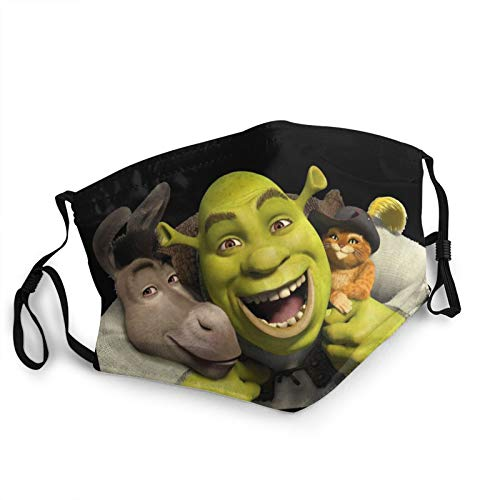 Adult Face Masks Protective Mouth Cover Shrek Reusable Breathable Fabric Face Shield Black