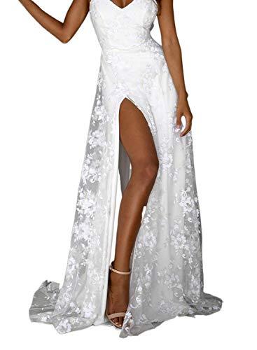 Vestido de Novia Cuello en V para Mujer Abertura A-línea...