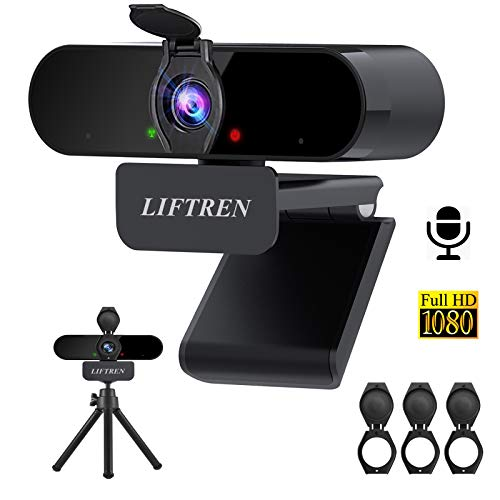LIFTREN Webcam with Microphone for PC, USB Full HD 1080P Web Camera with Privacy Cover and Bracket for Computer Desktop Laptop Mac, HD Video Plug and Play
