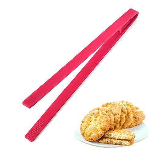 1PC de silicona resistente al calor Trivet Pinzas Pinzas de Alimentos Pan Clip servir los alimentos Tong Para cocinar de la barbacoa y ensaladas del utensilio Herramientas (rojo) para hornear