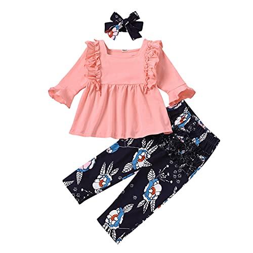 YWLINK Conjunto de Ropa de Bebé Niña Manga Larga Mameluco con Volantes Mono Body + Pantalones Floral + Venda Recién Nacido Niñas Otoño Primavera Trajes 3 Piezas