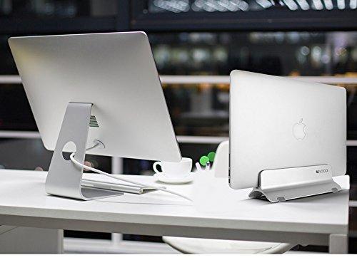 Vertical Laptop Stand, LOCA Aluminium Desktop Stand for Apple MacBook, notebooks (Silver) Photo #4