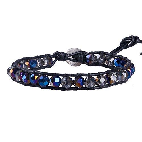 KELITCH Facettes Cut Cristal Gemme Perles Bracelet Cuir