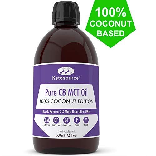 C8 MCT Huile Prime | 100% Coconut | Produit 3 X Plus de Cétone Que D'Autres Huiles MCT | Cétogène, Paleo & Végétalien | Bouteille en Plastique Sans BPA | Ketosource®