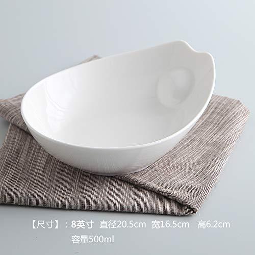 SGXDM Keramische kom huisdier fruitschaal saladekom waterbak zuiver wit creatieve verwarming hoge temperatuur resistente multi-functie, 8 inches