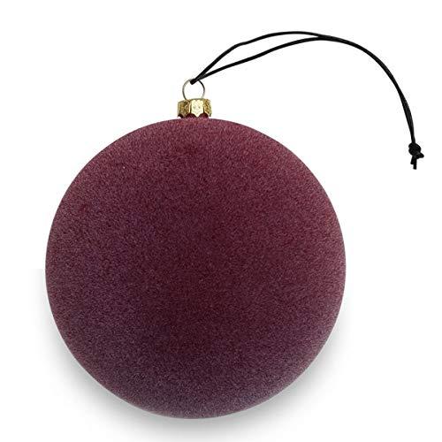 Nordstjerne - Pallina per Albero di Natale, in Velluto, Colore: Rosso Borgogna, Diametro: 8 cm