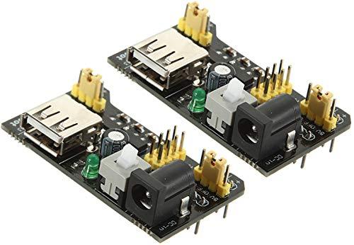 TECNOIOT 2pcs MB102 MB-102 Solderless Breadboard Power Supply Module 3.3V 5V