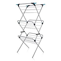 21 m of drying space, holds two wash loads Wider hanging rungs optimise airflow Flip out corners create 12 extra hanger spaces Double locking mechanism, simple safe operation, folds flat for easy storage