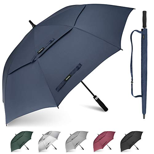 Gonex 68 Inch Extra Large Golf Umbrella, Automatic Open Travel Rain Umbrella with Windproof Water Resistant Double Canopy, Oversize Vented Umbrellas for 2-3 Men and UV Protection, Navy