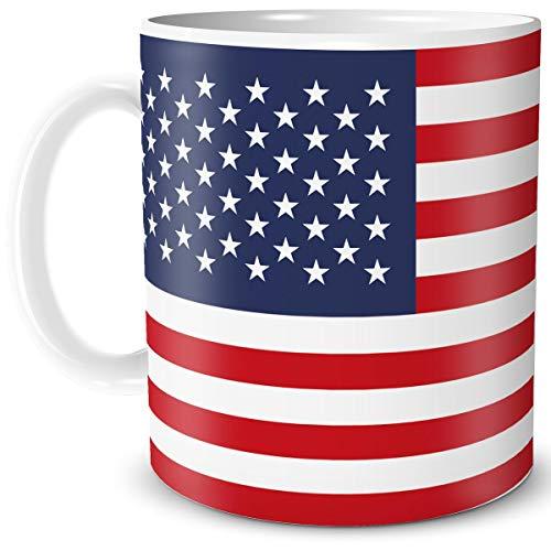 TRIOSK Tasse Flagge USA Amerika Länder Flaggen Geschenk Stars Stripes Souvenir für Reiselustige Frauen Männer Arbeit Büro Weltenbummler