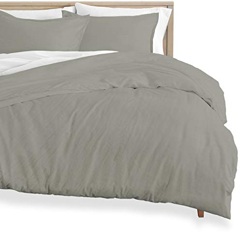 Bare Home Washed Duvet Cover and Sham Set - Twin/Twin XL - Premium 1800 Ultra-Soft Brushed Microfiber - Hypoallergenic, Easy Care, Stain Resistant (Twin/Twin XL, Sandwashed Frost Grey)