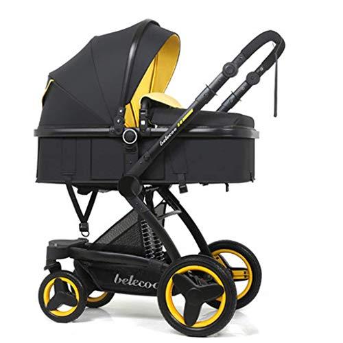 Passeggino per bambini 360 Funzione di rotazione, mamma baby carrello passeggino carrozzina, passeggino appena nato per bambini pieghevole convertibile carrozzina (Color : Black-C)