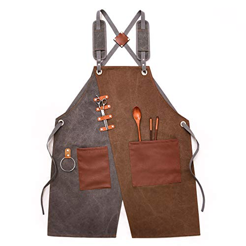 Work Aprons for Men, Women, Adjustable Shop Aprons with Pockets for Kitchen Cooking Garden Painting Woodworking Grilling Carpenters Crafting Drawing Bibs