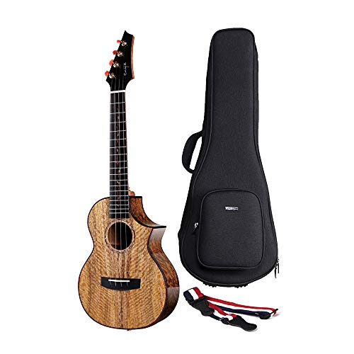 Enya Electric Acoustic 26 inch Tenor Ukulele with Pickup 5A Solid Mango Wood Ukulele with Padded Ukulele Bag EUT-MG6 EQ