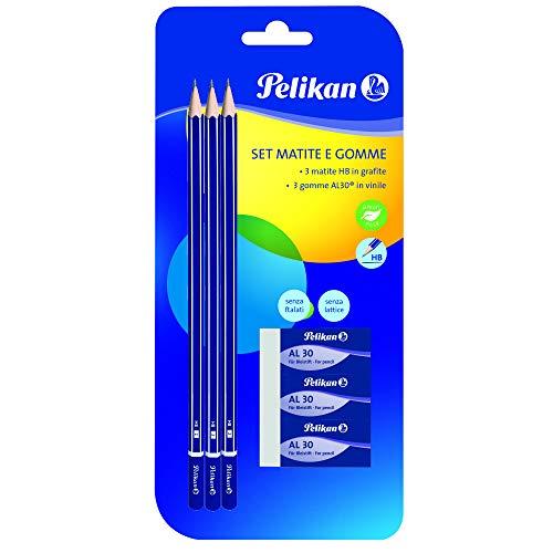 Pelikan 24005807 - Set met 3 grafietstiften HB + 3 gum AL30 - Schoolset - FSC-gecertificeerde houten schacht gelakt, zeskant-stiften breukvast