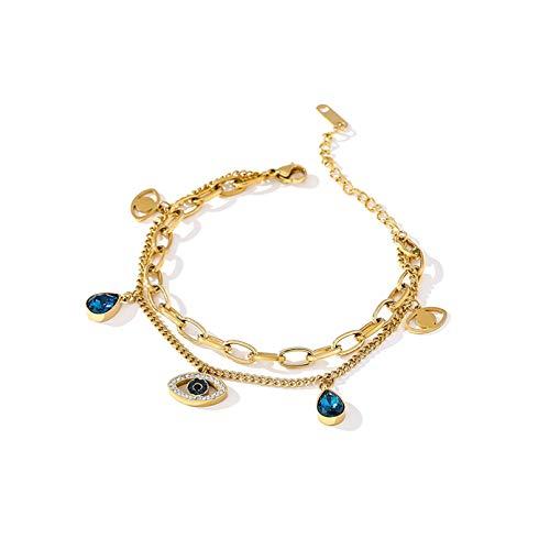 N Bracelet jewelry Exquisite Blue Eye Pendant Bangle Bracelet for Women Delicate Cubic Zirconia Jewelry Fashion Temperament Bracelet Gift Valentines Day present
