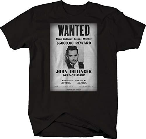 NR John Dillinger Wanted Poster Bank Robbery Murder American Gangstar Tshirt