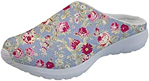 Salabomia Lightweight Walking Beach Sandals Flower Womens Nurse Shoes Open Back Slip-On