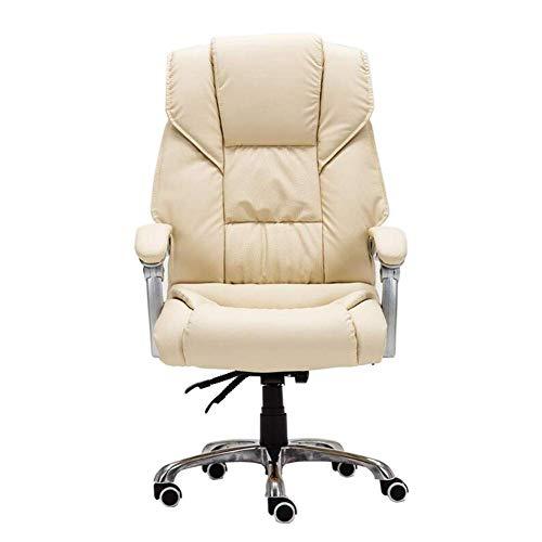 Silla de oficina para decoración del hogar, silla de escritorio con acolchado extra con reposabrazos abatibles, respaldo alto, silla de ordenador de cuero, altura ajustable, C2, color blanco