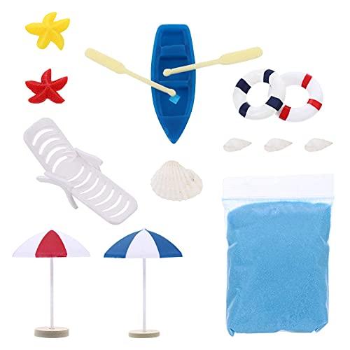 QULONG Adornos de jardín 12pcs Ocean Beach Adornos en Miniatura Mini Barco Silla Parasol de Playa Shell Star DIY Fairy Garden Bonsai Decoración Micro Dollhouse Decoration