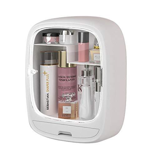Organizador de maquillaje, organizador de cosméticos para baño, caja de almacenamiento de maquillaje montada en la pared, organizador y almacenamiento de cosméticos a prueba de polvo e impermeable