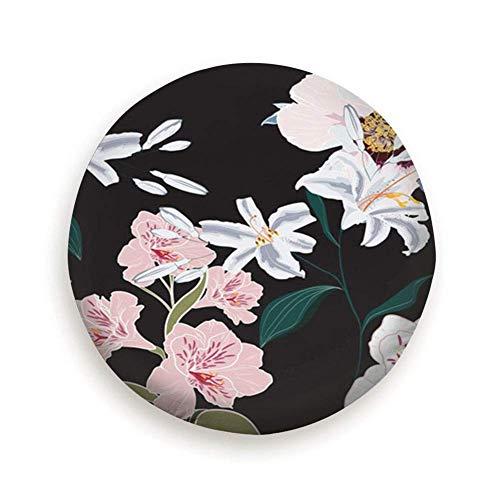 YAGEAD Cubierta de neumático Flores de peonía Rosa Floral Cubierta de neumático de Flor Camping Potable Poliéster Universal Cubiertas de Rueda de Repuesto para Remolque de Viaje Accesorios