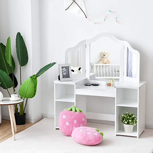 Costzon Kids Vanity Table, 2 in 1 Detachable Design with Dressing Table and Writing Desk, Makeup Dressing Table with Four Storage Shelves Two Folding Mirrors Children Girls, White
