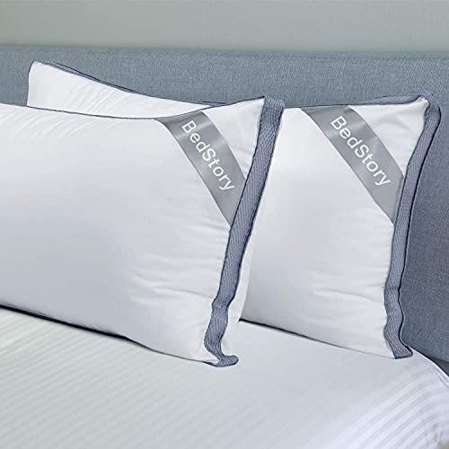 BedStory Almohada 42 x 70 cm Pack de 2 para Dormir, Almohadas de Hotel de Lujo Almohada Antiacaros Firmeza Media con Diseño de Rejilla Lateral, Almohada con Relleno de Microfibra Lavable a máquina