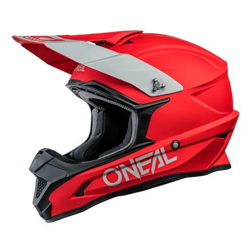 O'NEAL   Casco da motocross   MX Moto   Calotta in ABS, Standard di sicurezza ECE 22.05, Prese d'aria per una ventilazione ottimali   Casco 1SRS solido   Adulto   Rosso   Taglia XXL