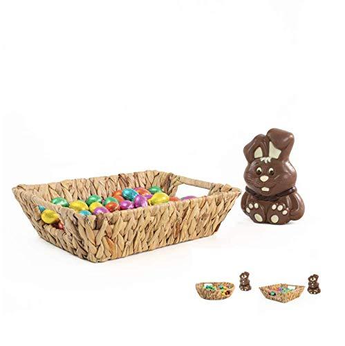 Blue Omnia Cesta trenzada | Cesta rectangular | Bonita cesta de fruta | Decoración de Pascua | Cesta de mimbre de alta calidad como paquete de regalo y cesta de almacenamiento (21 x 29 x 8)