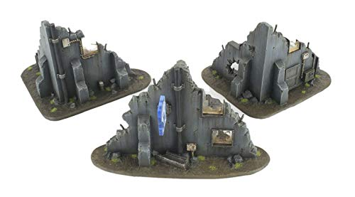 War World Gaming War Torn City Ruined Buildings, Barricades and Rubble Set with Scenery Materials - 28mm Heroic Scale Wargaming Terrain Model Scenery Warhammer 40K Necromunda Tabletop Destroyed City