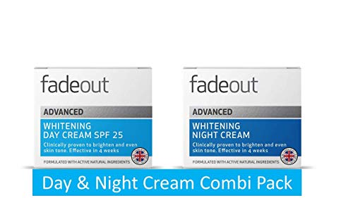 Fade Out Advanced Whitening Duo of Day Cream 50ml with SPF 25 & Night Cream 50ml   Skincare Beauty with Active Natural Ingredients   Clinically Proven   Boost Skin Hydration and Radiance Overnight   Pack of 2