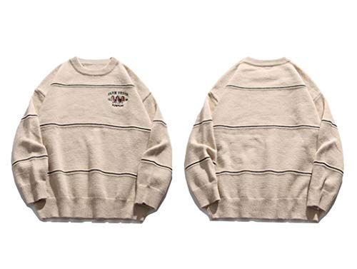 Hip Hop Streetwear Mens Knitted Sweater Emroidery Dogs Stripe Sweater Oversize Loose Pullover Men Clothing