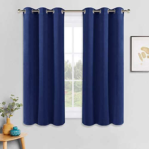 PONY DANCE Room Darkening Curtains - Energy Saving Blackout Curtain Drapes with Grommet Top Window Treatments for Kitchen & Living Room, 42 inch Wide by 54 Long, Navy Blue, Sold as 2 Panels