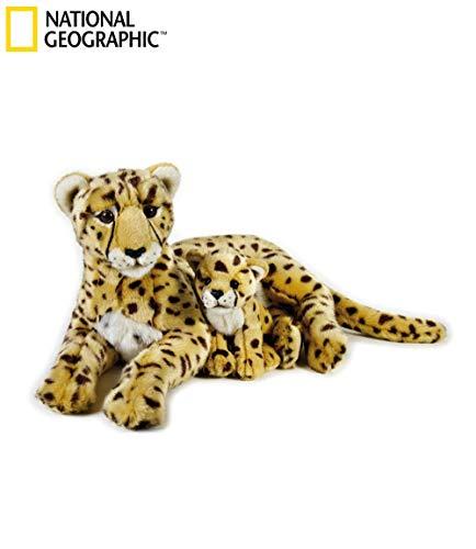 National Geographics Cheetah Stofftiere Mutter mit Baby Plüsch Spielzeug (2-teilig, Natur)