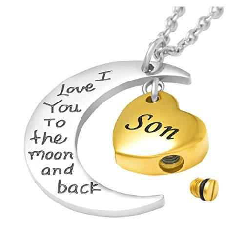 Wxcvz Collar para Cenizas Hijo, Papá Collar De Urnas De Cremación De Corazón para Cenizas Keep Askememorial Pendants New-I Love You To The Moon and Back