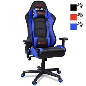 MC Star Lujo Silla Gaming PC Oficina Ergonómica Racing Carreras Silla de Escritorio Despacho para Gamer Profesional…