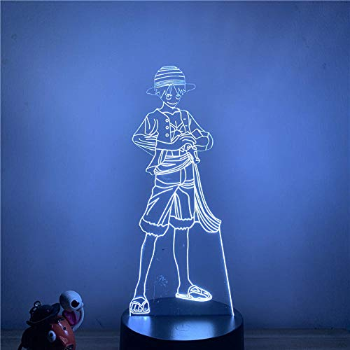 Lámpara de ilusión 3D Luz de noche LED Anime Luffy Muñeca de acción de pie Lámpara de mesa táctil de 7 colores Óptica decorativa Oficina en casa Restaurante Fiesta Niño niña Regalo