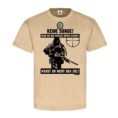 Deutscher Scharfschütze BW Sniper Schuss hören Ziel Ghillie Suit Tarnanzug Abzeichen Spruch Fun Bundeswehr T-Shirt #20399, Größe:L, Farbe:Sand