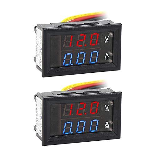 """2 Stück 0,28""""LED Digital Voltmeter Amperemeter DC 0-100V 10A, Volt Amp 2in1 Tester für 12V / 24V Multimeter Ampere Meter Volt Amp Gauge Panel"""