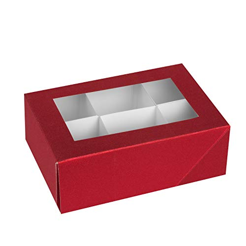 Hammont Window Box with Six Sections  Red Colored Unique Design Bakery Boxes Perfect for Sharing Snacks and Cookies| 6 Insert Sections Gift Boxes | 7x5x2.5 (Pack of 6)