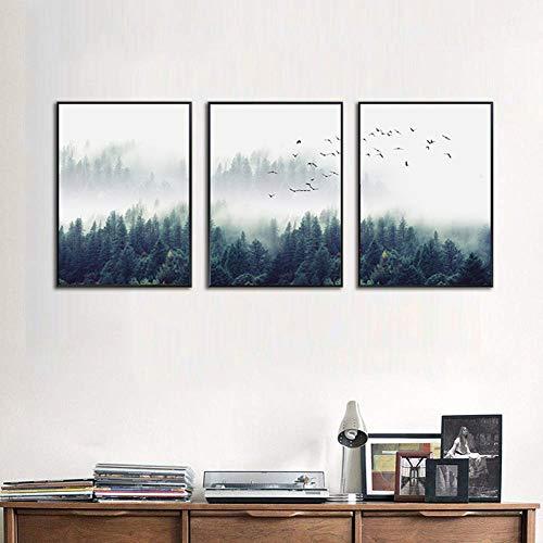 3 Piezas Panel Lienzo Imprimir Bosque Pájaro Volador Tríptico Pintura Elegante Pared...