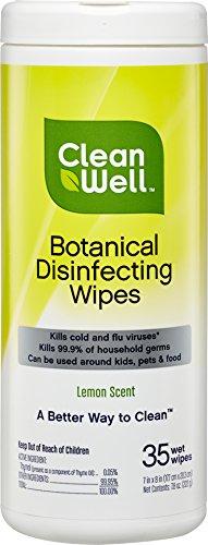 CleanWell Botanical Disinfecting Wipes, Lemon, 35 count (1 PK)–EPA List N Approved, Bleach Free, Antibacterial, Kid/Pet Friendly, Plant-Based, Cruelty Free, Deodorizes (Packaging May Vary)