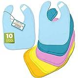 BAYBEE – Babylätzchen [10er Set] – Hochwertige weiche & waschmaschinenfeste Baby Lätzchen – 100% Baumwolle mit Klettverschluss – Öko-Tex geprüft – in 5 Farben für Mädchen & Jungen