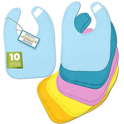 BAYBEE – Babylätzchen [10er Set] – Hochwertige & Weiche Spucktücher – 100% Baumwolle mit Klettverschluss – Öko-Tex geprüft – Sabberlätzchen in 5 Farben für Mädchen & Jungen