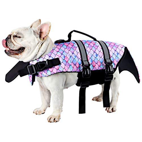 Due Felice Dog Life Jacket Coat, Pet Safety Floatation Vest Small Medium Large Dogs Life Preserver for Swimming or Boating Mermaid/Small