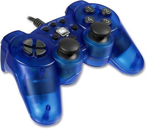 Speedlink Strike² Gamepad für den Computer (Vibrationsfunktion, programmierbar, PC-Controller mit USB) transparent blau