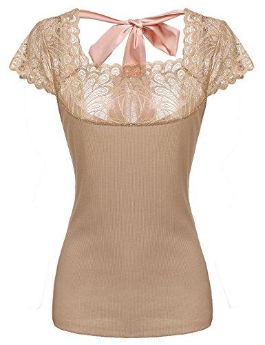 Pinspark Damen-T-Shirt mit Flügelärmeln und Spitze, Patchwork, rückenfrei, Slim Fit - Beige - Klein
