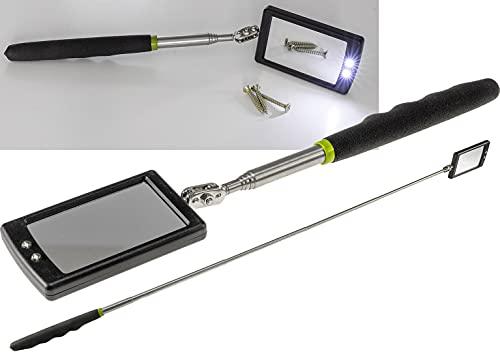 ChiliTec 22103 - Espejo telescópico con iluminación LED y articulación (extensible, 28-88 cm, mango suave)