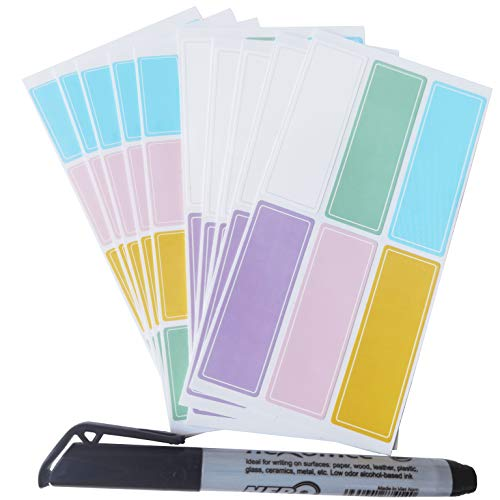 Assorted Colors Waterproof Removable Labels - 170PCS with Pen Daycare Bottles Self-Adhesive Name Label Stickers for Baby,Kids,Toddlers School Suppliers,Bottles,Mason Jar,Garage Sale